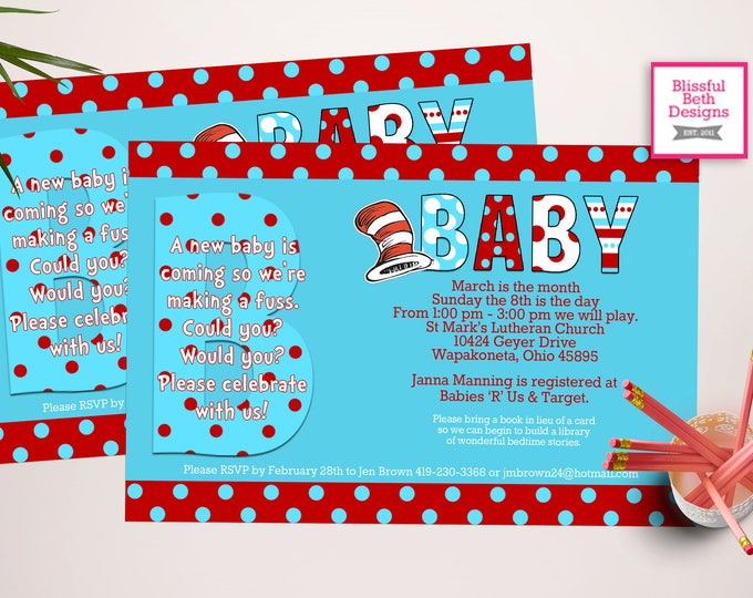 SEUSS BABY SHOWER Personalized Dr. Seuss Baby Shower Printable Invitation (Red and Blue), Baby Shower Invitation, Dr. Seuss Invitation