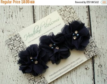 SALE NAVY BLUE Chiffon Flowers with Pearl Rhinestone on Shimmery Elastic Headband - Newborn Baby Toddler - Photo Prop - Bridal - Flower Girl