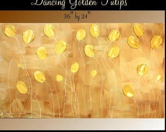 "SALE ORIGINAL 36""Abstract Acrylic gallery canvas-Contemporary Modern Golden Dancing Tulips painting by Nicolette Vaughan Horner"