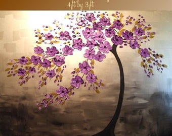 """SALE BIG SIZE  48""""by 36"""" Original oil/acrylic Impasto  painting  trees,floral  by Nicolette Vaughan Horner"""