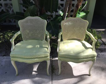 WHEN LIFE Gives You LIMES ....Make Chairs! / Pair Of Cane Back French Armchairs / Lime Green Detailing / Paris Apt.