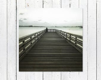 Coastal Decor Ideas | Black + White Rustic Nautical Decor Photography | Nautical Wall Art Print | Coastal Decorating | Pier in Old San Juan
