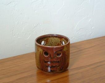 Vintage Ceramic Owl Tea Light Holder, Owl Votive Holder, Owl Candle Holder Otagiri  OMC