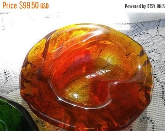 Now On Sale 1970's Heavy Orange Thick Ashtray Dish, Collectible Glass, Mid Century Modern Man Cave Home Decor