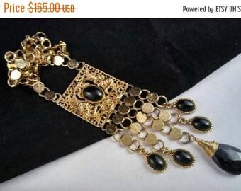 Now On Sale Bold Vintage Dragon Serpent  Runway Tasseled Pendant Necklace