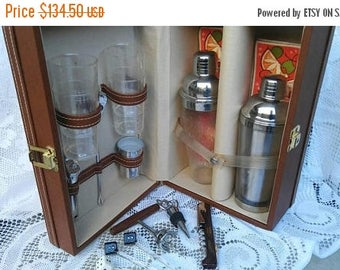 Now On Sale Vintage Portable Pub Travel Bar-  Trav-L-Bar Barware Set - Trans World Creations, California Executive Gift - Man Cave Home Deco