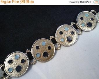 ON SALE Vintage Chunky Wide Bracelet - Retro 1950's 1960's Geometric Circle Style Jewelry