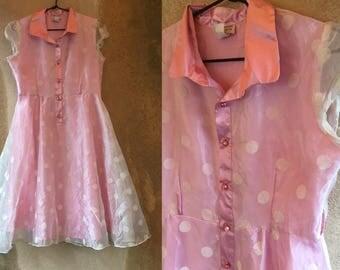 Pastel Pretty in PINK Polka Dot Poofy 80's Prom Fancy Party Sheer Dress