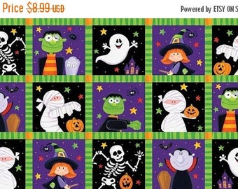 20 % off thru 7/4 HAPPY HAUNTING Northcott panel cotton quilt fabric HALLOWEEN  ghost witch pumpkins skeleton bats in squares 20589 85