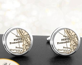 Map Cufflinks Perth Australia Cuff Links for Groomsmen Groom Fiance Anniversary Wedding Party Fathers Dads Men