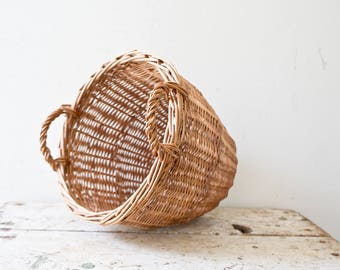 Small Basket - Brown Wicker Woven Basket Wooden Natural Outdoors Vintage Boho Basket with Handles Orange Cute Gift Wine Romantic
