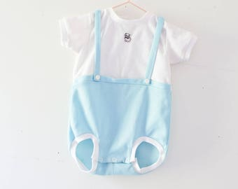 Vintage Baby Romper  Vintage Blue White Romper Jumper Size 12 Months House Dress Buttons One Year