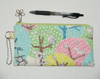 """Padded Zipper Pouch / Pencil Case / Cosmetic Bag Made with Japanese Cotton Linen Fabric """"Pastel Forest Animals"""""""