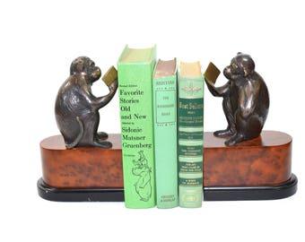 Monkey Bookends, Brass Monkey, Brass Monkey Bookends, Jungle Bookends, Bronze Monkey, Nursery Bookends, Nursery Decor, Jungalow Decor