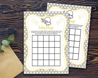 Baby Bingo Little Lamb Shower Games-DIGITAL INVITATION-Printable Invite Card - Baby Lamb Shower Card - Grey Yellow White Stars