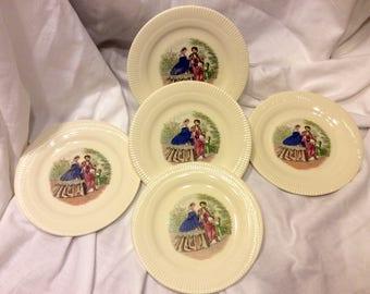 Codey Prints Rib Salem China Set of (5) Five Bread Plates 1940's Victory Shape
