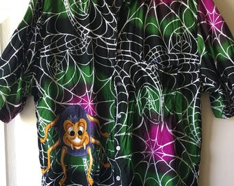 Stoned Spider Hawaiian Shirt Black Purple Green Beach Goth Punk Psychobilly Costume Button Up Size Large