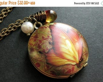 SUMMER SALE Butterfly Locket Necklace. Autumn Butterfly Necklace with Wire Wrapped Teardrop and Pearl. Handmade Jewelry.