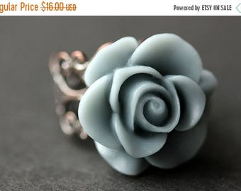 BACK to SCHOOL SALE Gray Blue Rose Ring. Blue Grey Flower Ring. Gold Ring. Silver Ring. Bronze Ring. Copper Ring. Adjustable Ring. Handmade