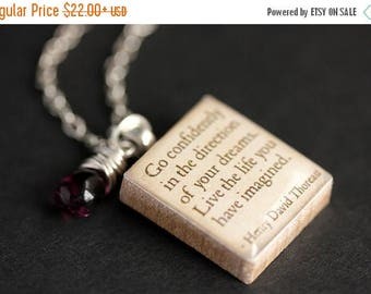 BACK to SCHOOL SALE Go Confidently Necklace. Henry Thoreau Quote Necklace. Scrabble Necklace. Thoreau Necklace. Scrabble Pendant with Glass