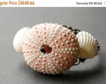 BACK to SCHOOL SALE Sea Urchin Bracelet. Seashell Bracelet with Bronze Cuff Bracelet Base. Beach Bracelet. Ocean Bracelet. Tidepool Bracelet