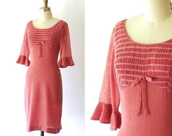 vintage 1950s dress / 50s mauve wiggle dress / size xs