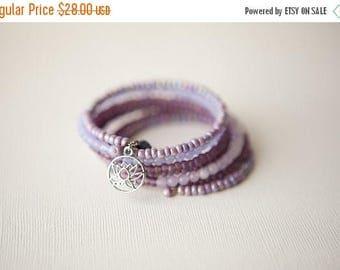 Bohemian Bracelet, Lilac Bracelet, Gypsy Bracelet, Lavender Bracelet, Lotus Bracelet, Wrap Bracelet, Lotus Flower, Purple Bracelet, Trending