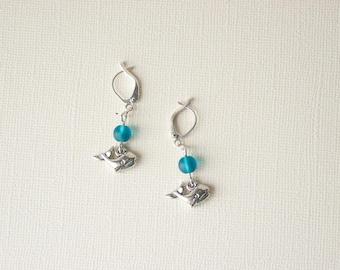 Orca Earrings, Whale Earrings, Orca Jewelry, Whale Jewelry, Beach Earrings, Sea Glass Jewelry, Sea Glass Earrings, Beach Jewelry, Trending
