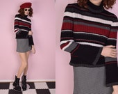 90s Striped Ribbed Sweater/ Small/ 1990s/ Long Sleeve/ Turtleneck
