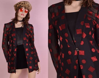 80s Black and Red Sheer Blazer/ Small/ 1980s/ Jacket