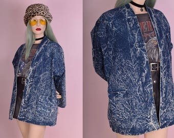 80s Acid Wash Denim Jacket/ Large/ 1980s