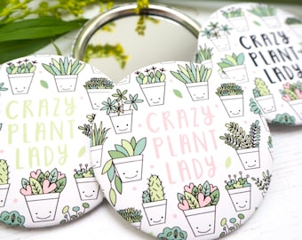 Crazy Plant Lady Pocket Mirror - Plant Lady Gift - Gift for her - Gardener gift - Succulent - House plant - Gift for her