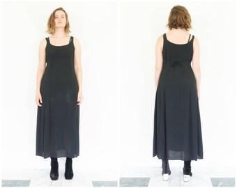 90s Sleeveless Black Rayon Sundress / Tie Waist Grunge Dress