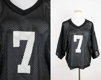 Vintage Black Mesh Football Jersey + Lucky Number Seven + Number 7 + Oversized Football Jersey + Black and White Jersey + Hip Hop + Retro +