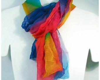 "Waldorf silk playcloth. Rainbow Silk Shawl. 22x78"". Hand painted silk gauze. Hand painted silk scarf~Painted silk scarves~Painted silk scarf"