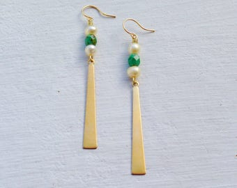 Long Boho Earrings/Boho Earrings/Bohemian Earrings/ Boho Chic/Long Gold Earrings/Gift For Her/Pearl Earrings/Green Turquoise Earrings