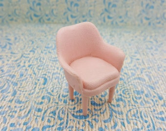 Marx Pink Chair Soft  Plastic French Provencal  Toy Dollhouse living room arm chair