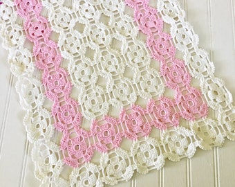 Vintage Pink and White Crochet Table Runner, Crocheted Dresser Scarf, Pastel Decor , Cottage Style Grandma Chic, Retro Homr