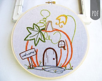 Embroidery Design PDF Pattern Fall Pumpkin Cottage House