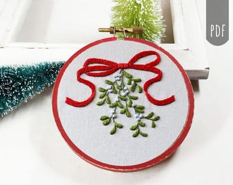 Hand Embroidery Pattern PDF Christmas Mistletoe Ribbon Holiday Decor