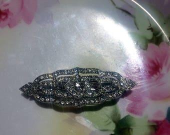 Silver Art deco hair clip wedding hair clip vintage hair clip bridal bridesmaid vintage victorian inspired rhinestone hair clip Gatsby clip