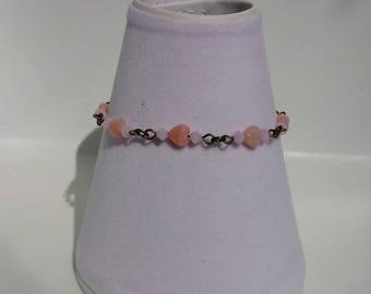 Antique Bronze Bracelet, Pink Glass Bracelet, Bronze jewellery, Pink Heart Bracelet, Swarovski Crystal Jewellery, Gift For Her, Birthday