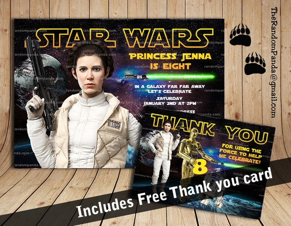 Star Wars Invitation Princess Leia Party Jedi Birthday Invite By