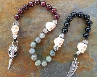 Pagan Prayer Beads, The Morrigan, Meditation Beads, Witches Ladder, Pagan Rosary, Pagan Mala Beads, Pocket Mala, Raven Mala