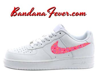 Custom Pink Donut Sprinkles Nike Air Force 1 Shoes White Low, FREE SHIPPING,  #