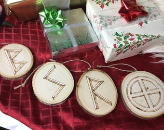 Yule Ornaments - Sunwheel & Runes, Set of 4 - Yule Tree Decorations - Viking Yule - Yule Decorations - Asatru Ornaments - Gift for Viking