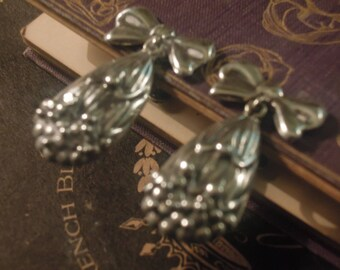 Vintage Drop / Dangle Clear Sterling Silver Earrings with Screw Back / Taxco / Mexico