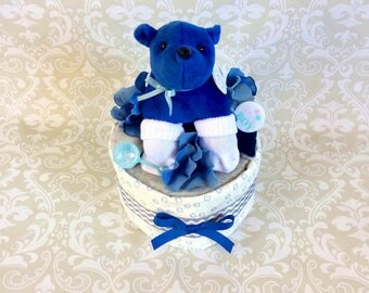 Baby Boy one tier blanket Diaper Cake - an adorable baby shower gift, made to order