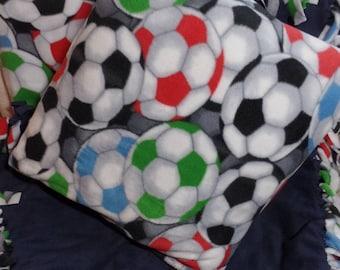 """SOCCER BALL Fleece Quilt Blanket Throw 64"""" x 52"""" & Pillow 18"""" x 18"""""""