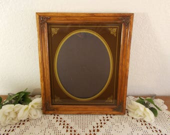 Vintage Carved Wood Picture Frame 8 x 10 Oval Photo Decoration Country Western Mid Century Cabin Home Decor Rustic Wedding Decoration Gift